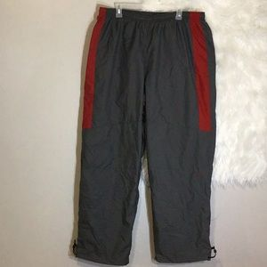 NIKE Men's Windrunner Pants-Gray, Red Striped